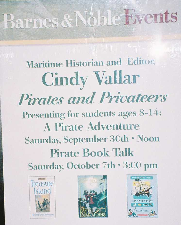 Sign announcing appearances at Barnes and Noble