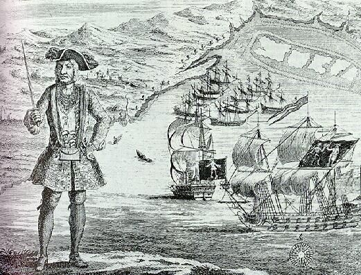 Bartholomew Roberts off the African coast with pirate fleet and 11 captured merchantships