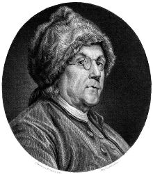 C. N. Chocin's drawing of Ben Franklin, 1777,