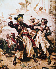 Capture of the Pirate, Blackbeard, 1718 by Jean Leon