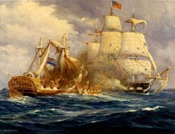 USS Constitution defeats HMS Guerriere by Anton Otto Fischer