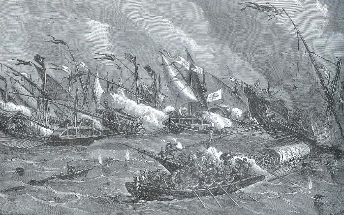 Sea battle between Christian and Muslim corsairs