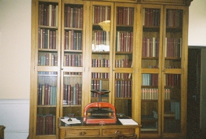 Bookshelves containing ledgers