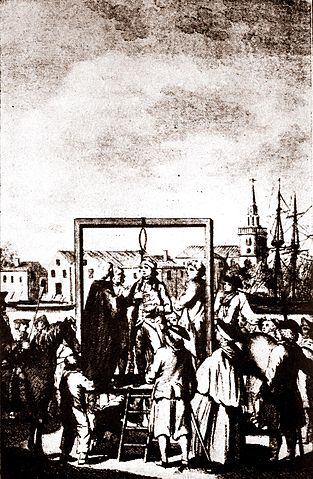Engraving of hanging of a buccaneer at