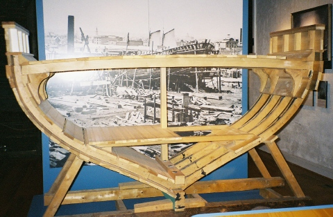 This Museum Display Depicts A Small Section Of The Keel And Frame Ships Hull Planks Are Laid Across Which Is Akin To Persons