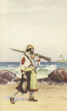 Pirate wearing tattered clothes