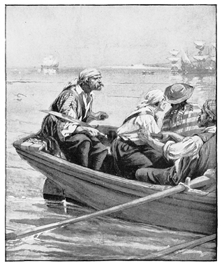 Pirates in rowboat,