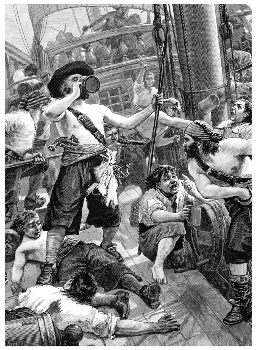 19th-century engraving of pirates partying, artist