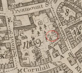 1743 map of Boston showing location of gaol