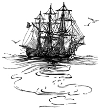 Ship sailing away, artist unknown (Source:
