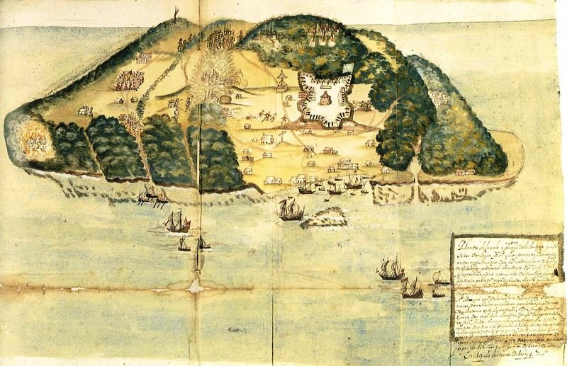 Drawing of Tortuga island