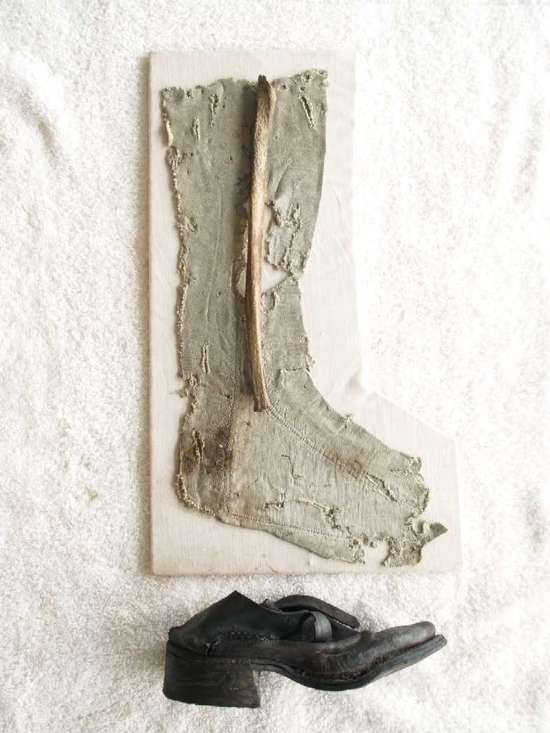 Sock, shoe, and leg