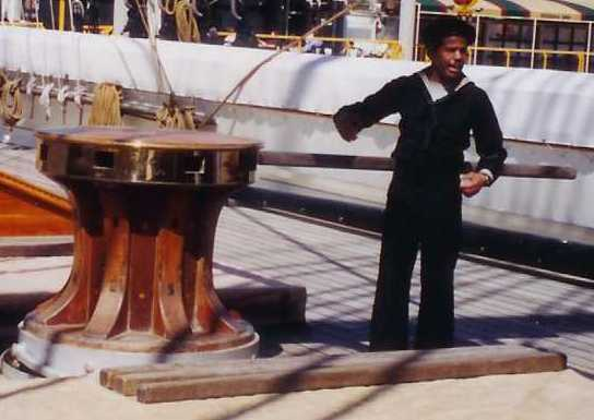 Main deck capstan on USS Constellation