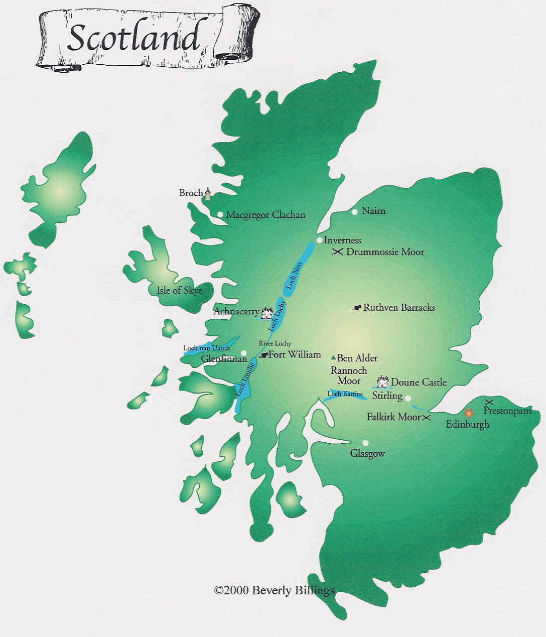 Map of Scotland to accompany The Scottish Thistle by Cindy Vallar